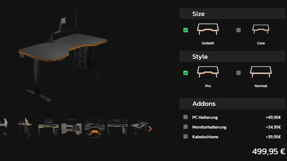 LeetDesk Gaming Schreibtisch Konfigurator